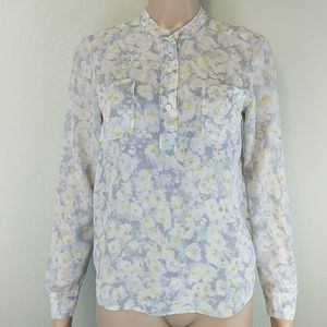 [Rebecca Taylor] Floral Button Up Silk Blouse 0